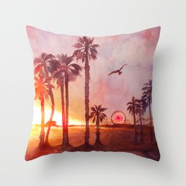 Sunset in Santa Monica Throw Pillow