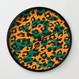 Modern orange brown jade green animal print Wall Clock