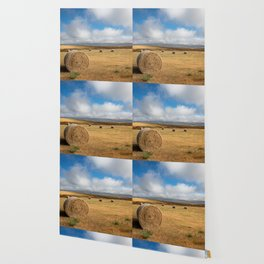 A Day on the Prairie - Round Hay Bales on Golden Landscape in South Dakota Wallpaper