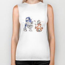 R2-D2 & BB-8 Watercolour Illustration Biker Tank