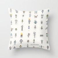 robots Throw Pillows featuring robots by Julia Heffernan