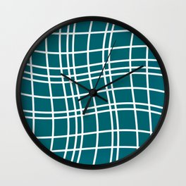 Dancing White Lines on Teal Field Wall Clock