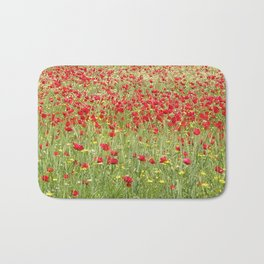 Meadow With Beautiful Bright Red Poppy Flowers  Bath Mat