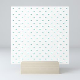 Small Aqua Polka Dots Mini Art Print