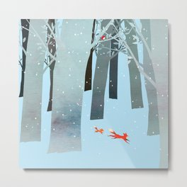 Two Foxes Running in the Woods Metal Print