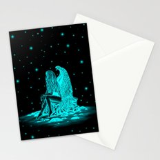 Angel , lost in thought , black and green Design Stationery Cards