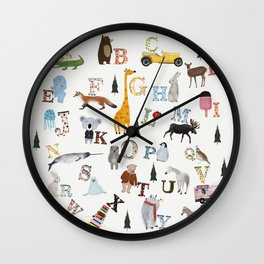 little nature alphabet Wall Clock