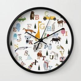little nature alphabet Wall Clock