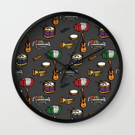 Toy Instruments on Grey Wall Clock