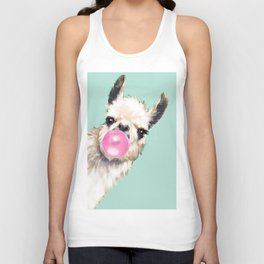 Bubble Gum Sneaky Llama in Green Unisex Tank Top