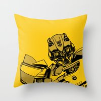 transformers Throw Pillows featuring Transformers: Bumblebee by Skullmuffins