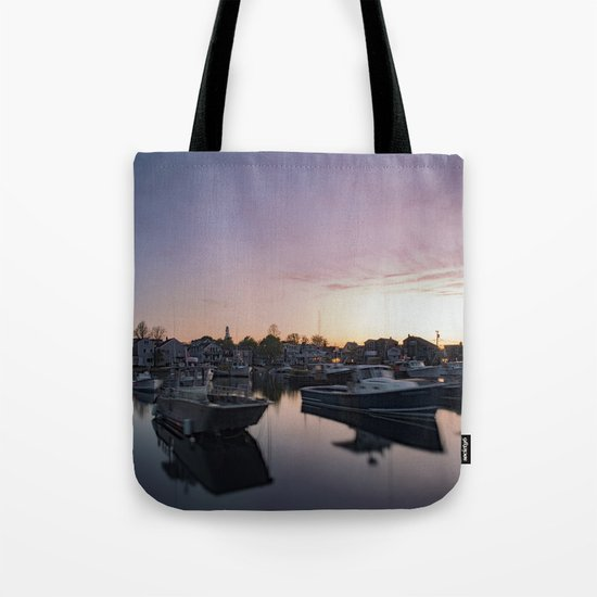 Rockport Harbor at twilight Tote Bag
