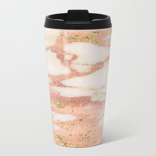 Marble - Rose Gold Shimmer Marble with Yellow Gold Glitter Metal Travel Mug