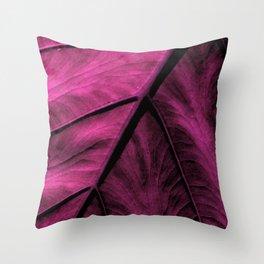 Magenta Leaf Throw Pillow