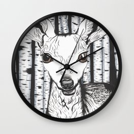 Ink and watercolor black and white doe in the forest Wall Clock
