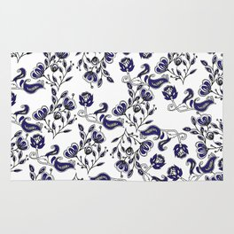 Hand painted navy blue white watercolor chic floral Rug