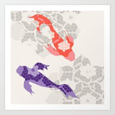Purple and Orange Koi Art Print