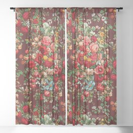 Chintz pattern from the Industrial arts of the Nineteenth Century Sheer Curtain