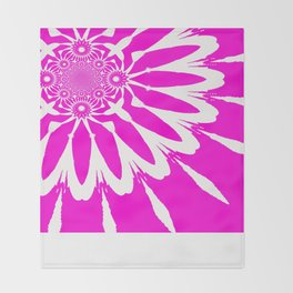 The Modern Flower Fuchsia Pink Throw Blanket