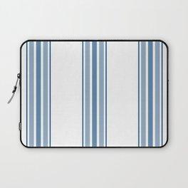 Farmhouse Blue Ticking Stripes on White Laptop Sleeve