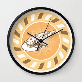 Angle Grinder Power Tool Woodcut Retro Wall Clock