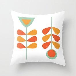 Scandi Garden Flower Pair: Minimalist Mid-Century Flowers in Orange and Celadon on White Throw Pillow