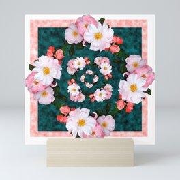 Bordered pink and white blossoms Mini Art Print