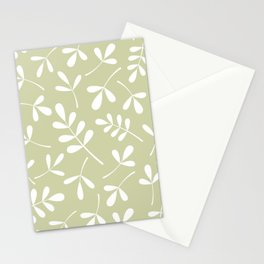 Assorted Leaf Silhouettes White on Lime Stationery Cards