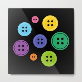 Colorful Rainbow Buttons Metal Print