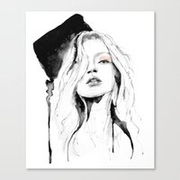 kate moss Canvas Prints featuring Kate Moss by Erin Marie Illustration