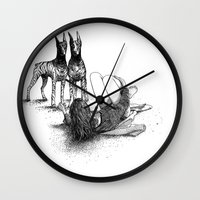 apollonia Wall Clocks featuring asc 545 - Sketchwork (Fooling around with the boys) by From Apollonia with Love