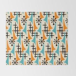 Mid Century Modern Atomic Wing Composition Orange & Blue Throw Blanket