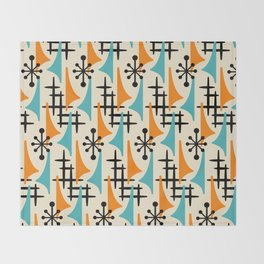 Mid Century Modern Atomic Wing Composition Orange & Blue Throw Blanket