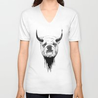 bulldog V-neck T-shirts featuring Bulldog by Balazs Solti