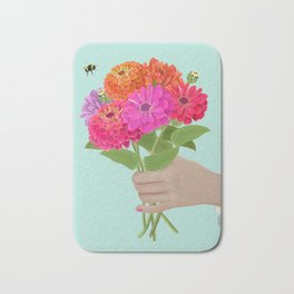 Be Kind Hand Giving Zinnia Flower Bouquet with Bumble Bee Bath Mat
