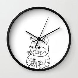 Eating Meow Wall Clock