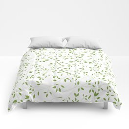 Leaves Pattern in Green & White Comforters