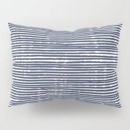 Stripes, Mudcloth, Indigo, Navy Blue, Boho Wall Art Pillow Sham