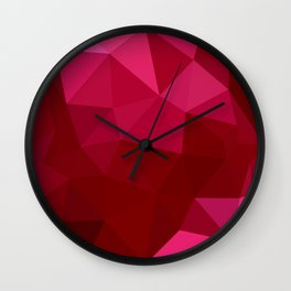 Firebrick Red Abstract Low Polygon Background Wall Clock