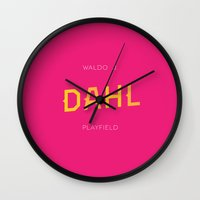 roald dahl Wall Clocks featuring Dahl Playfield by Parks of Seattle
