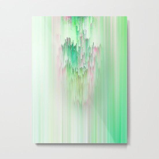 Abstract Cascade Glitch 1.Green Metal Print