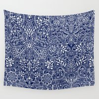 navy Wall Tapestries featuring Detailed Floral Pattern in White on Navy by micklyn