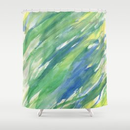 Blue green yellow watercolor hand painted brushstrokes Shower Curtain