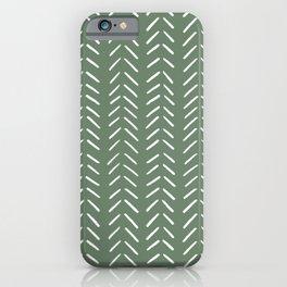 Minimalist Hand Drawn Herringbone Pattern (white/sage green) iPhone Case