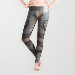 Taupe Grey Pink Mirror Abstract Leggings
