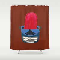 typewriter Shower Curtains featuring Typewriter by gunberk