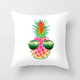 Electric Pineapple with Shades Throw Pillow