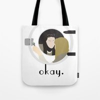 okay Tote Bags featuring Okay. by Zharaoh