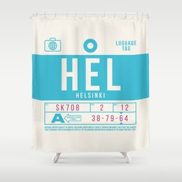 Retro Airline Luggage Tag 2.0 - HEL Helsinki Airport Finland Shower Curtain