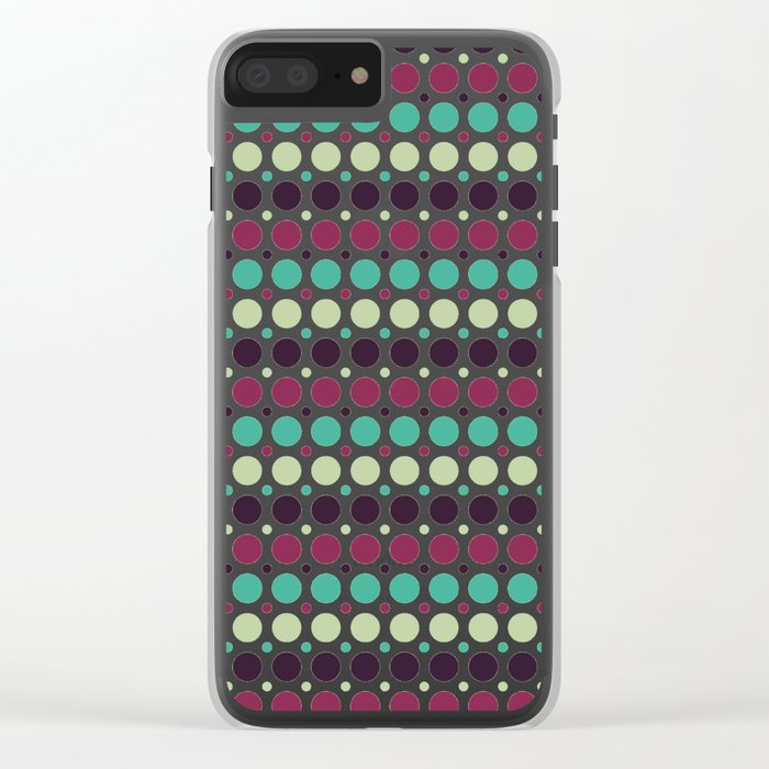 Peacock Polka Dot Pattern Clear iPhone Case